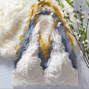 Cream Lace Halter Bralette